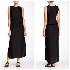 Vince Black Jacquard Cinch Waist Maxi Dress